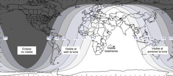 Visibilidad del eclipse en el mundo
