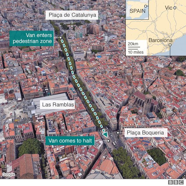 Map showing how the van attack happened