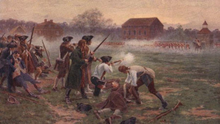 Escena de una batalla de la Guerra de Independencia de Estados Unidos