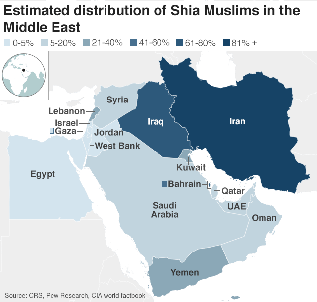Map showing Shia distribution in Middle East