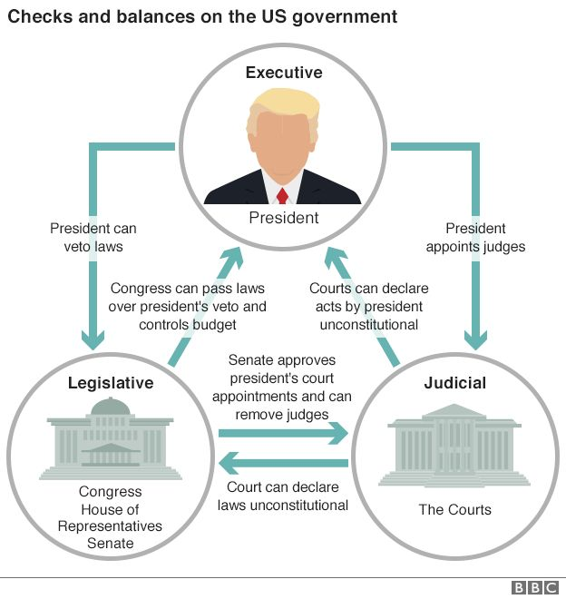 Graphic showing checks and balances on US government