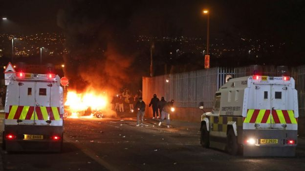 People throwing petrol bombs during the violence in Londonderry