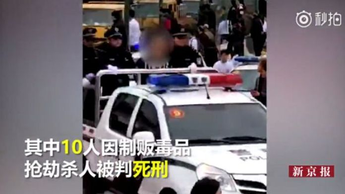 Persona condenada en la parte trasera de un auto de la policía