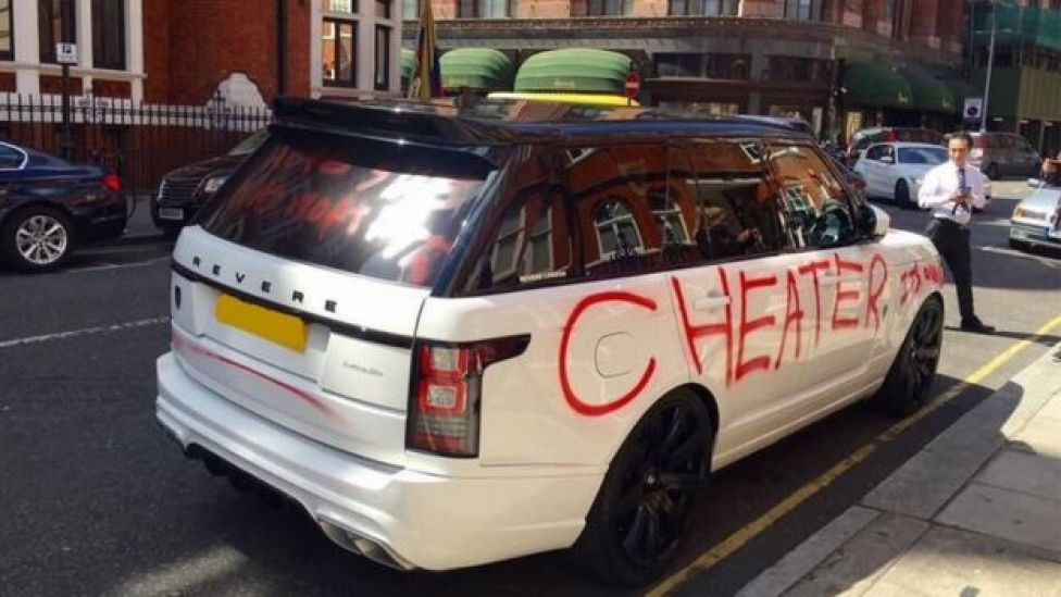 Car with spray paint in west London