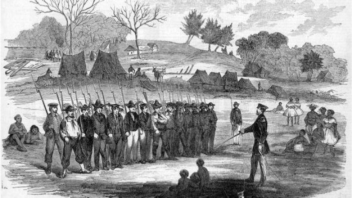 Walker entrenando a sus filibusteros en Virginia.