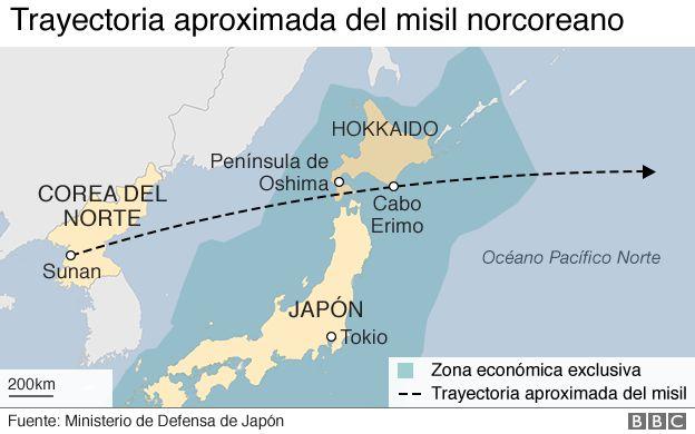 Mapa del recorrido del misil lanzado por Corea del Norte