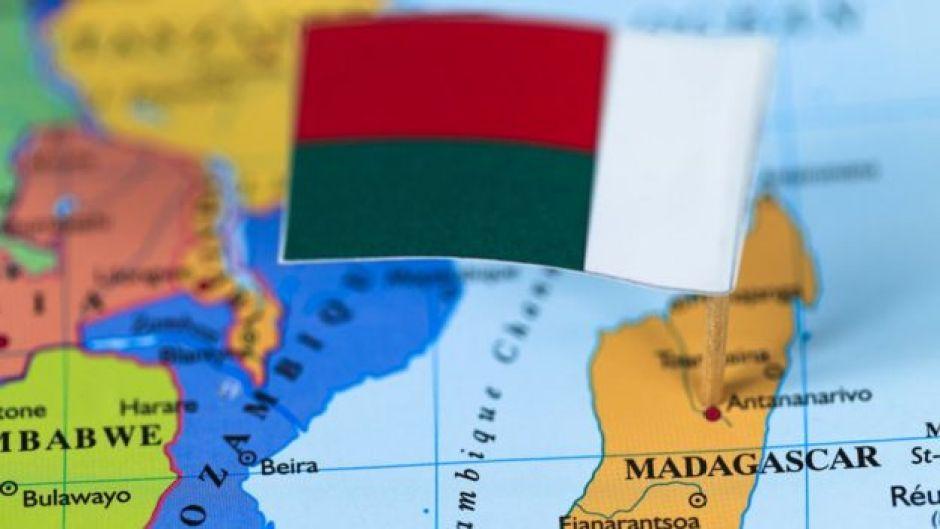 Detalle de mapa de Madagascar en África