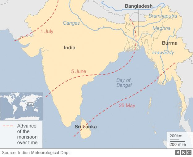 Map of monsoon forecast and major rivers entering the Bay of Bengal