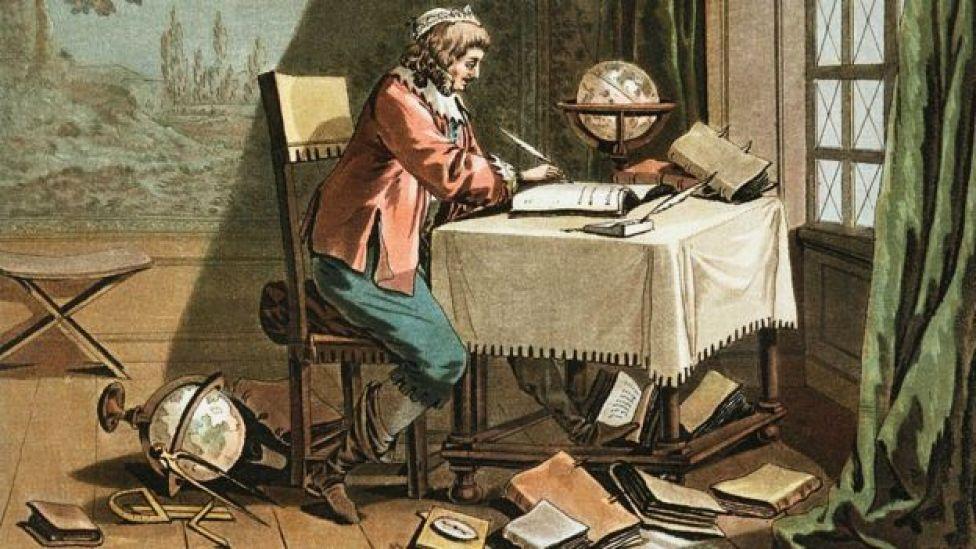 Grabado de René Descartes escribiendo su sistema mundial por Desfontaines