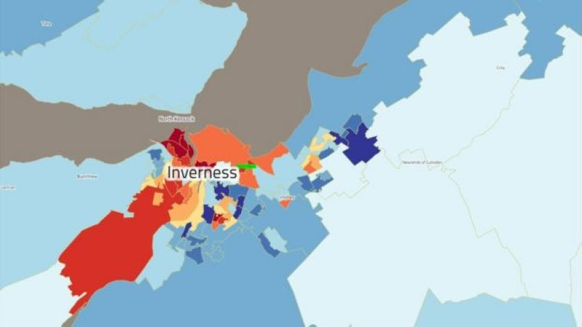 Inverness has some areas in the most-deprived 10% of Scotland