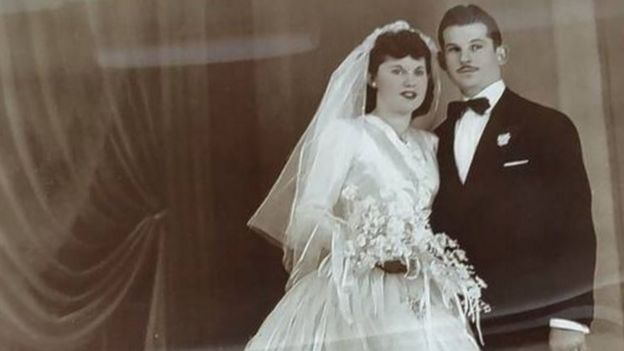 Isaac and Teresa Vatkin on their wedding day