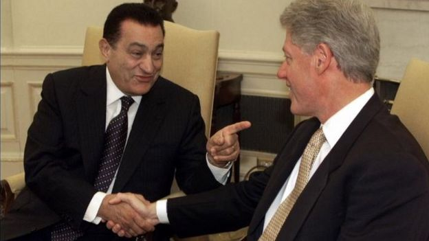 Then presidents Mubarak and Clinton at the White House in 1999