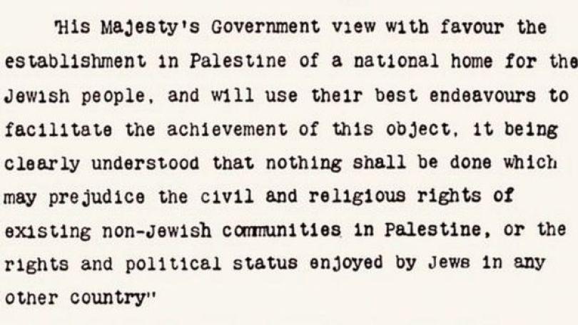 As 67 palavras da carta de Balfour