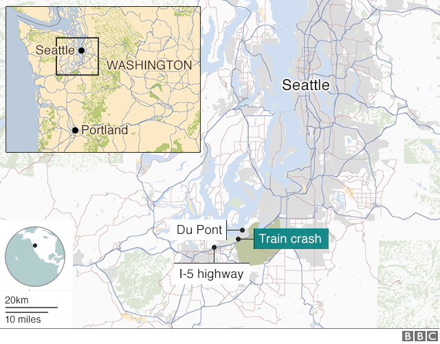Map showing location of train crash near Du Pont, Washington State