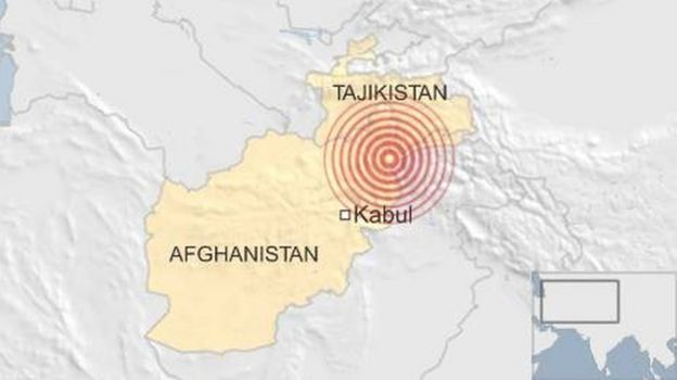 Location of Afghanistan earthquake - 10 April 2016