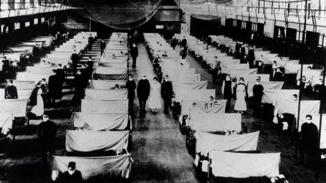 A campaign hospital during the Spanish Flu pandemic