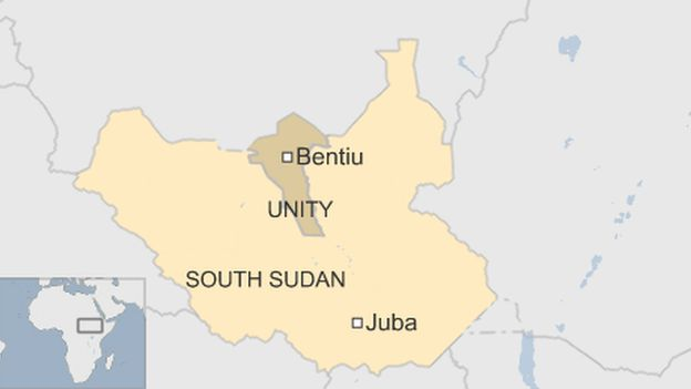 south sudan map with unity state