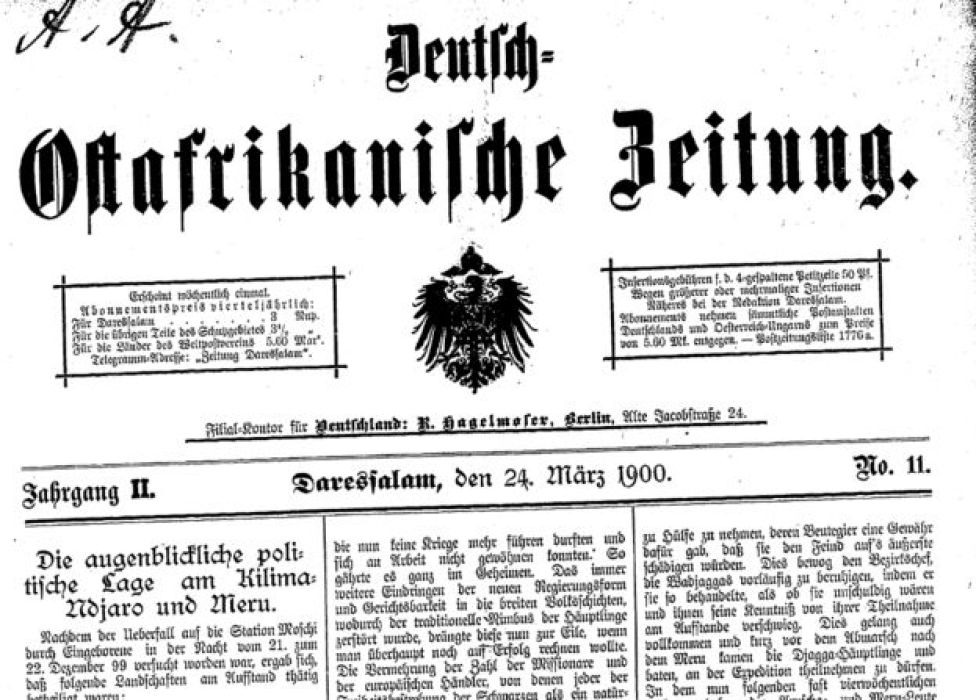 Image of a German newspaper from 1900