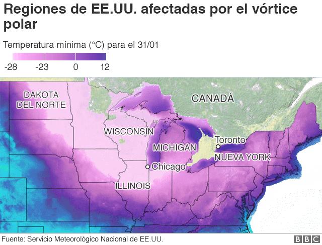 Mapa con regiones de EE.UU. afectadas por el vórtice polar