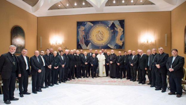 Obispos chilenos con Francisco en el Vaticano