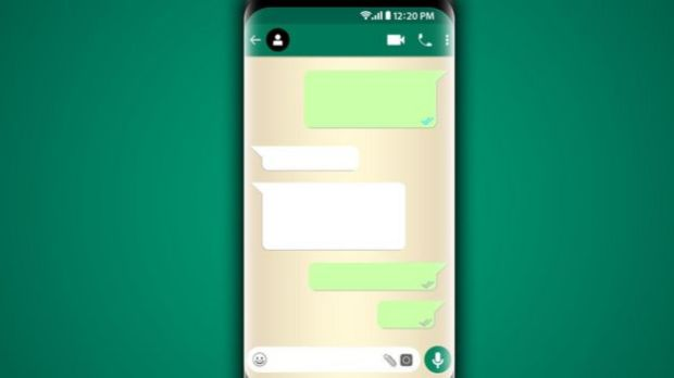 Illustration shows cell phone with app like WhatsApp