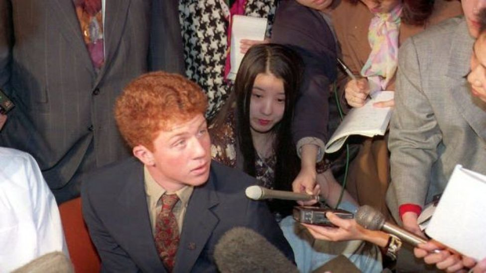 Webb Haymaker, centre, talking to Japanese reporters on a trip to Japan in 1994