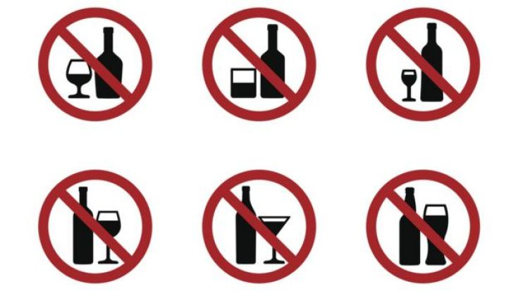 Señales de prohibición de alcohol