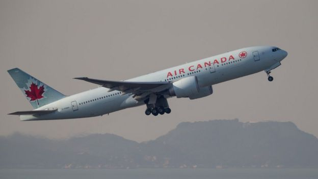 The Boeing 777-200 civil jet airplane of Air Canada