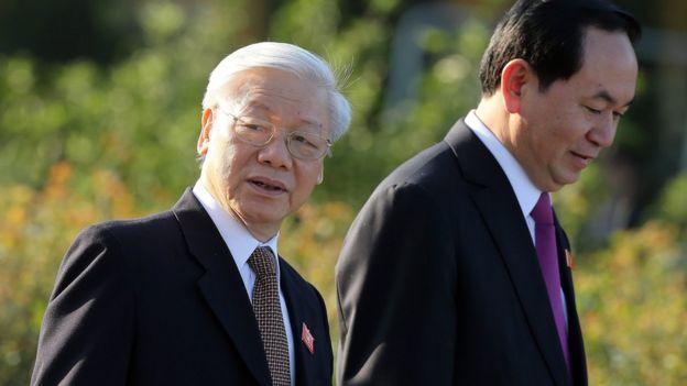 TBT Nguyễn Phú Trọng và Chủ tịch Trần Đại Quang tại phiên khai mạc kỳ họp Quốc hội 20/10/2016