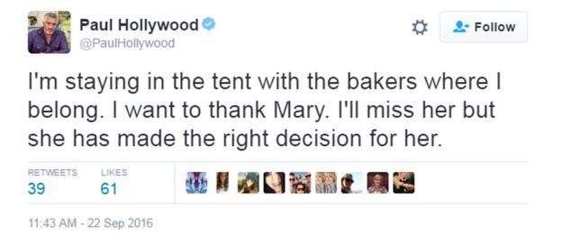 Paul Hollywood's tweet: