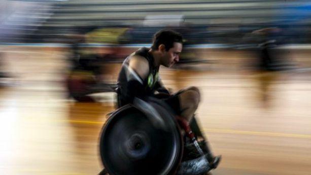 Ronaldo Serafim no rúgbi de cadeira de rodas
