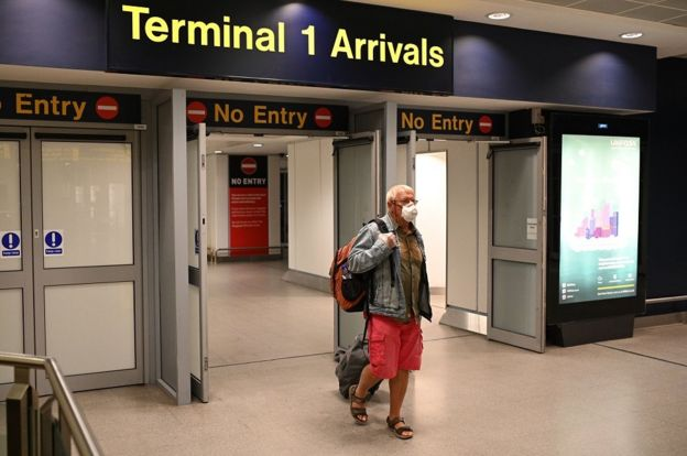 Passenger arriving in airport wearing mask