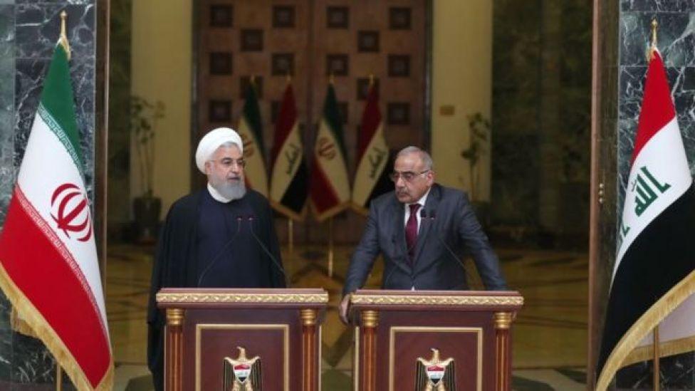 El líder supremo de Irán, Alí Jamenei, junto al primer ministro de Irak, Adel Abdel Mahdi.
