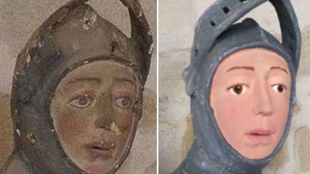 Скульптура святого Георгия до и после реставрации