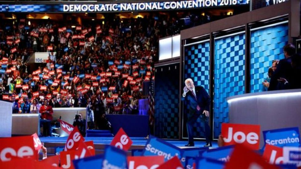 Mr Biden takes the stage at the 2016 convention