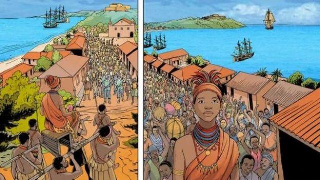 Cómic de la reina Njinga mostrando su llegada a Luanda para negociar con los portugueses