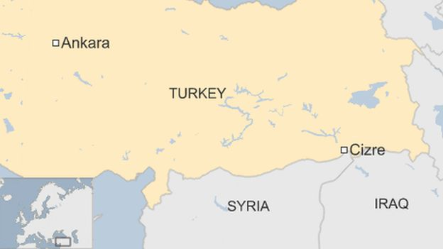 A map showing Cizre, in Turkey