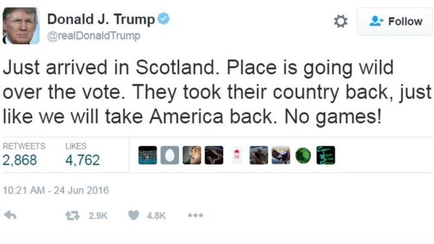 Image result for TRUMP IN SCOTLAND BREXIT
