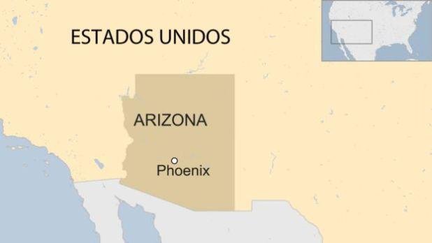 Mapa de EE.UU. con el estado de Arizona