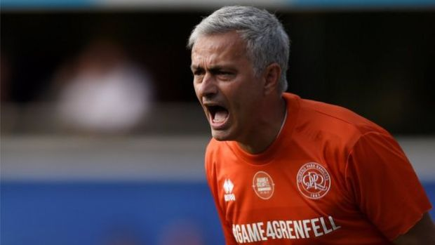 Jose Mourinho playing in the Game4Grenfell match
