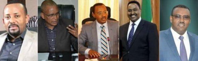 From left to right: Abiy Ahmed, Debretsion Gebremichael, Lema Mergessa, Workneh Gebeyehu, Demeke Mekonnen