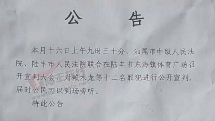La Corte del Pueblo de Lufeng invitó a la gente a ver 12 anuncios de sentencias.