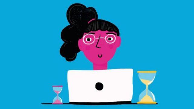 Ilustración de una niña leyendo en una computadora