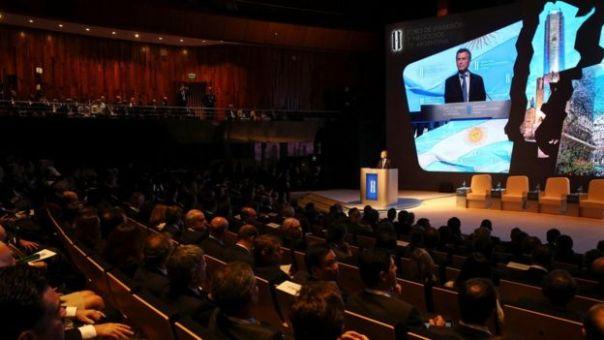 Macri en la reunión con empresarios del mundo