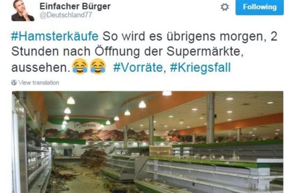 あるユーザーは「開店2時間後のスーパーマーケットはこんな風になる」とツイート