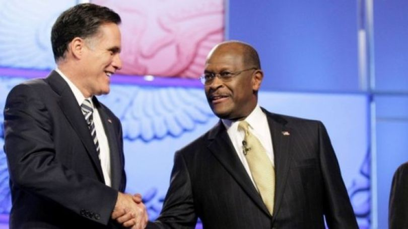Mitt Romney and Herman Cain (R) at the CNN GOP National Security debate in 2011