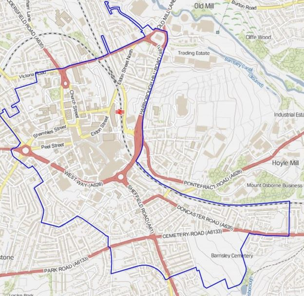 Map of proposed area of Barnsley where PSPO would be enforced