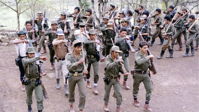 Picture taken in the 1980s of Farc fighters during training at a camp somewhere in the Colombian mountainous region