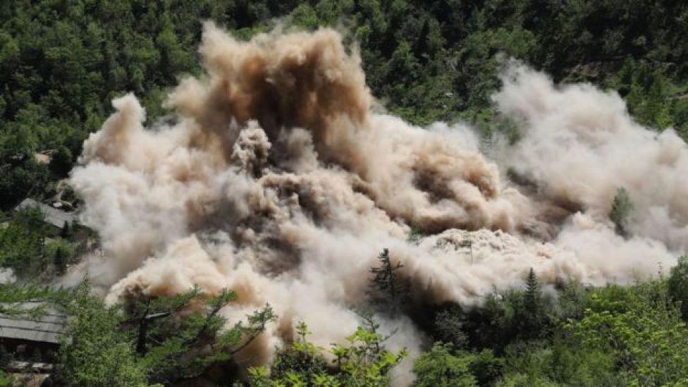 Demolición del sitio de pruebas nucleares en Corea del Norte.