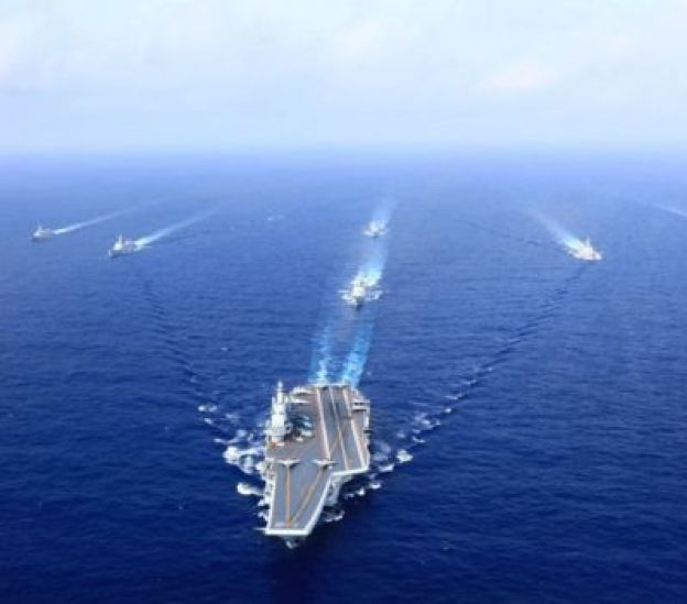 Naval exercises of China in the South China Sea.